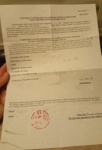 Papier zum Verbleib der Fahrzeugs in der Türkei